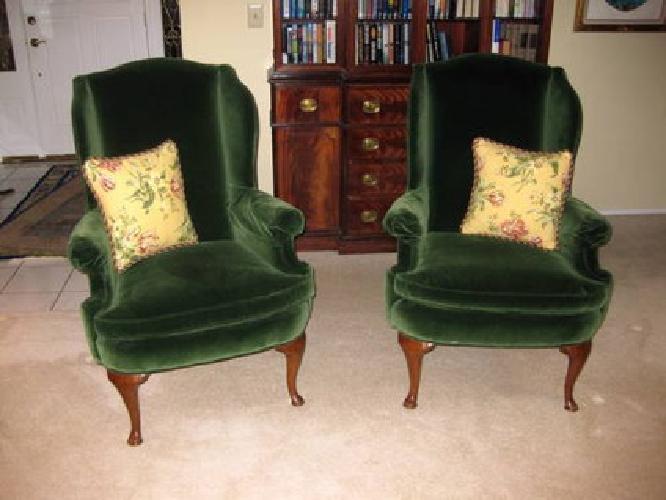 350 Pair of Highland House Green Velvet Wingback Chairs