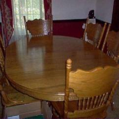Oak Dining Set 6 Chairs Used Waiting Room 400 Table W Oval Leaf 12 11 Avail Still