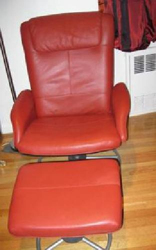red leather chair and ottoman gym ball desk 90 ikea swivel reclining for sale in