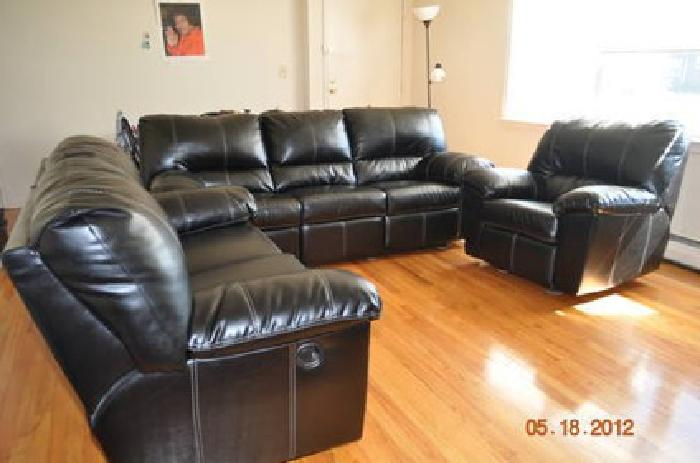 950 Ashley Black Leather Sofa With 5 Recliners For Sale