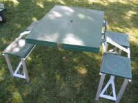 RARE VINTAGE FOLD UP COLEMAN CAMPING TABLE WITH BENCHES ...