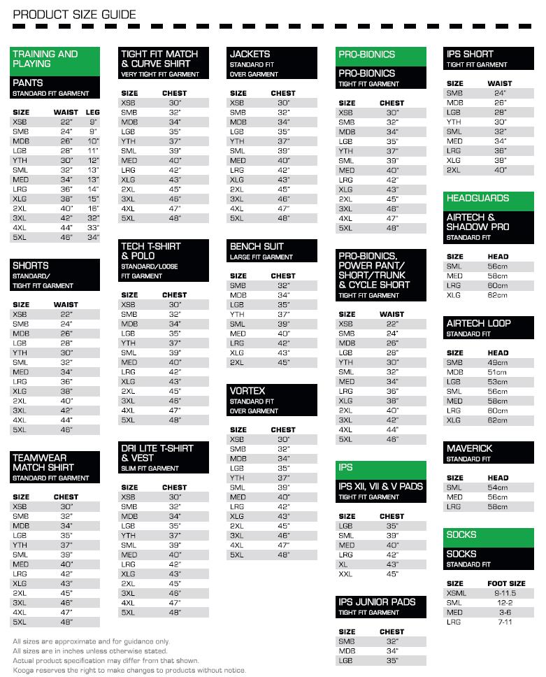 KooGa Size Guide