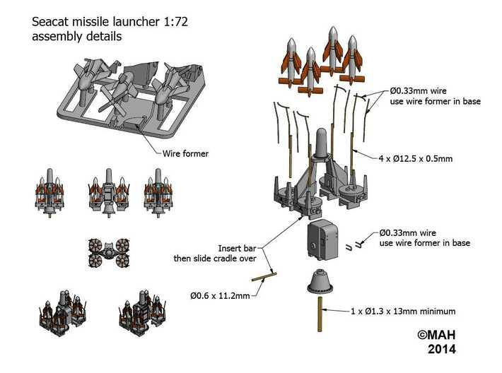 Seacat Launcher Kit 1/72 (QM43C5BMA) by hawkins751511