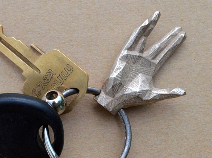 faceted spock hand keychain