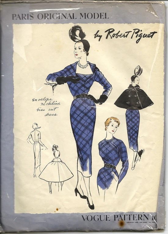 1949 cape and dress pattern, Vogue 1089 by Robert Piguet