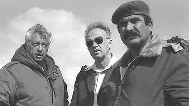 Sharon with Rabin and Yekutiel Adam. 1976. (Photo: Moshe Milner, GPO)