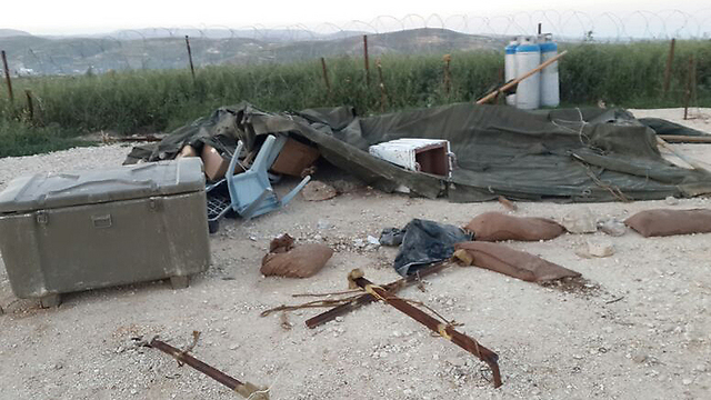 Settlers destroyed tents used by IDF soldiers (Photo: IDF Spokesman)