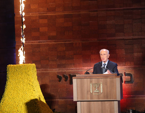 Peres at ceremony (Photo: Gil Yohanan)