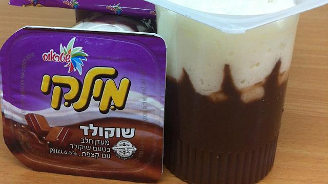 """הכיתוב הישן. מילקי שוקולד (ובקטן: """"בטעם שוקולד"""") (צילום: אדר טל)"""