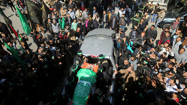 Fukha's funeral procession in Gaza on Saturday (Photo: Reuters) (Photo: Reuters)