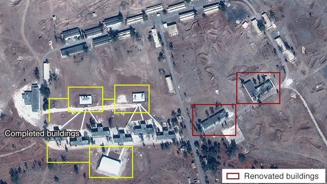 The alleged Iranian base as documented last month in Syria  (Photo: Digital Globe, McKenzie intelligence Services, BBC)