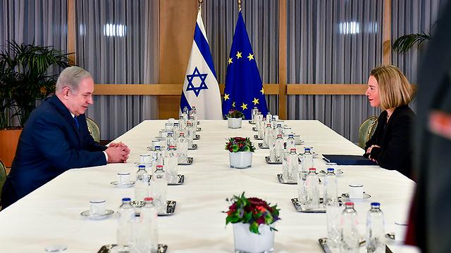 PM Netanyahu (L) and EU chief diplomat Mogherini (Photo: AP)