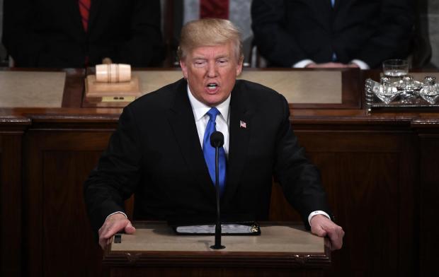 Речь Трампа в конгрессе. Фото: Douliery Olivier