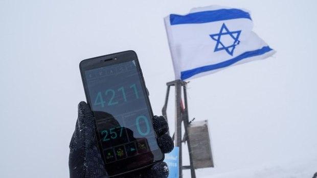 Флаг Израиля водружен на высоте 4211 м