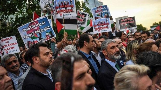 Антиизраильская демонстpация в Стамбуле. Фото: AFP