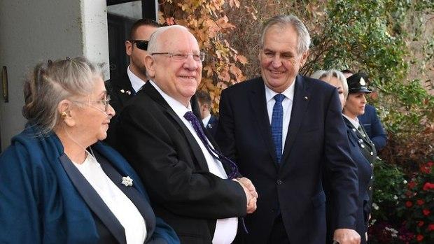 Израильская президентская чета принимает президента Чехии в Иерусалиме. Фото: Марк Найман/ЛААМ