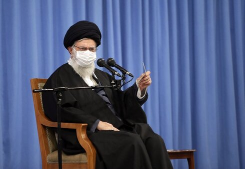 Superintendent Ayatollah Ali Khamenei speaks in a meeting with the family of Revolutionary Guard Gen.  Qassem Soleimani killed in U.S. drone strike in Baghdad in early 2020, and top military leaders, in Tehran, Iran