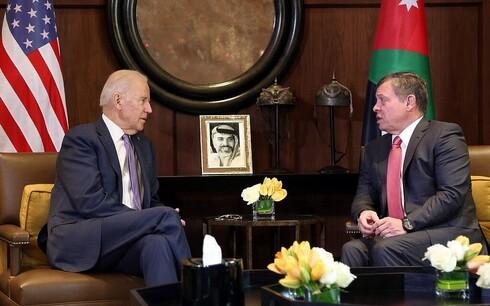 US President Joe Biden with Jordan's King Abdullah during a visit to Amman in 2016 while he was VP