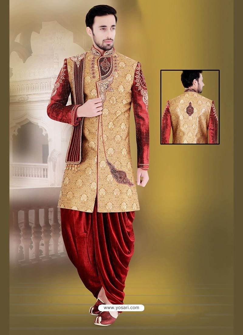 Buy Striking Brown Dhoti Style Sherwani Sherwani