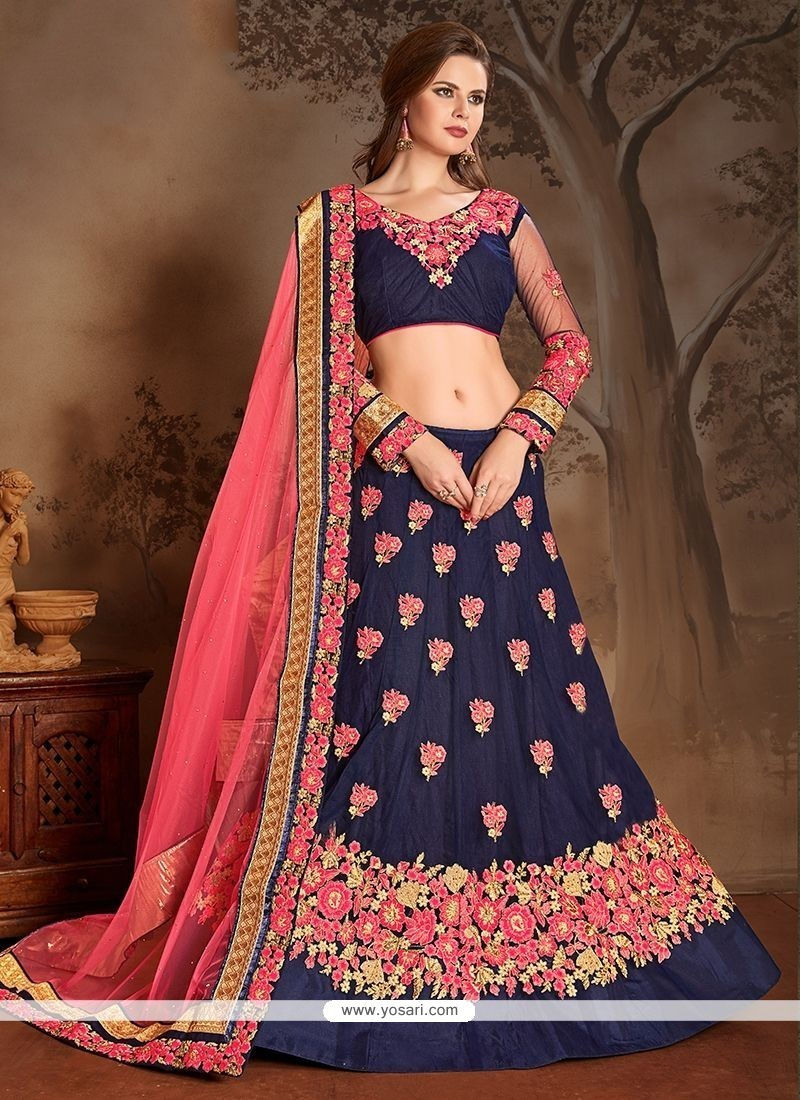 Buy Navy Blue And Pink Lehenga Choli  Wedding Lehenga Choli