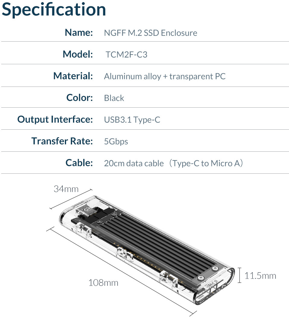 ORICO M.2 to Type-C SSD Enclosure NGFF Transparent USB3.1