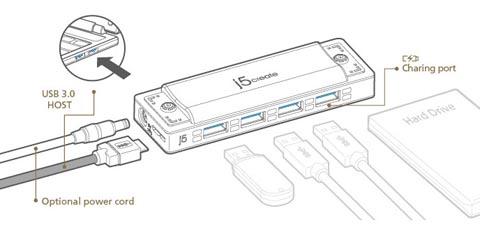 J5create JUH345BE USB 3.0 4-Port HARMONICA HUB (Black