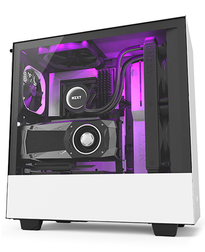 Nzxt H500 (black/black-red/white) : (black/black-red/white), H500i, Compact, Mid-Tower, Gaming, Lighting, Control, CAM-Powered, Smart, Device, Tempered, Glass, Panel, Enhanced, Cable, Management, System, Water-Cooling, Ready