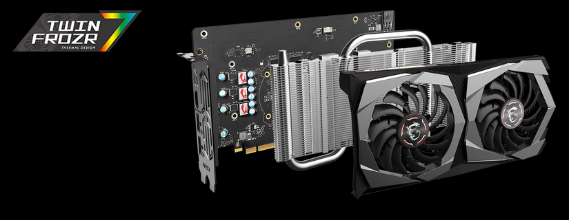 GTX 1650 GAMING X 4G graphics card angled to the right with all its working parts removed and floating behind one another. The Twin FROZR 7 logo is on the left side