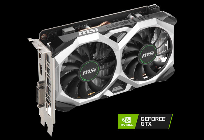MSI GeForce GTX 1650 SUPER VENTUS XS OC video card angled to right with a NVIDIA RTX logo