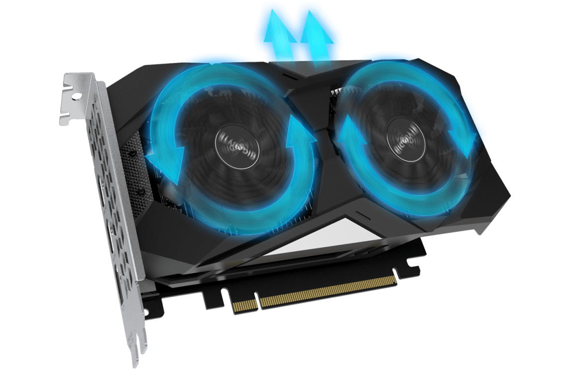 GIGABYTE GV-N1650OC-4GD graphics card angled up to the right with blue graphics showing the airflow its spinning fans create