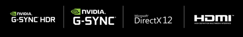 NVIDIA Geforce RTX logo, NVIDIA G-SYNC HDR logo, NVIDIA G-SYNC logo, Microsoft DirectX12 logo, HDMI logo