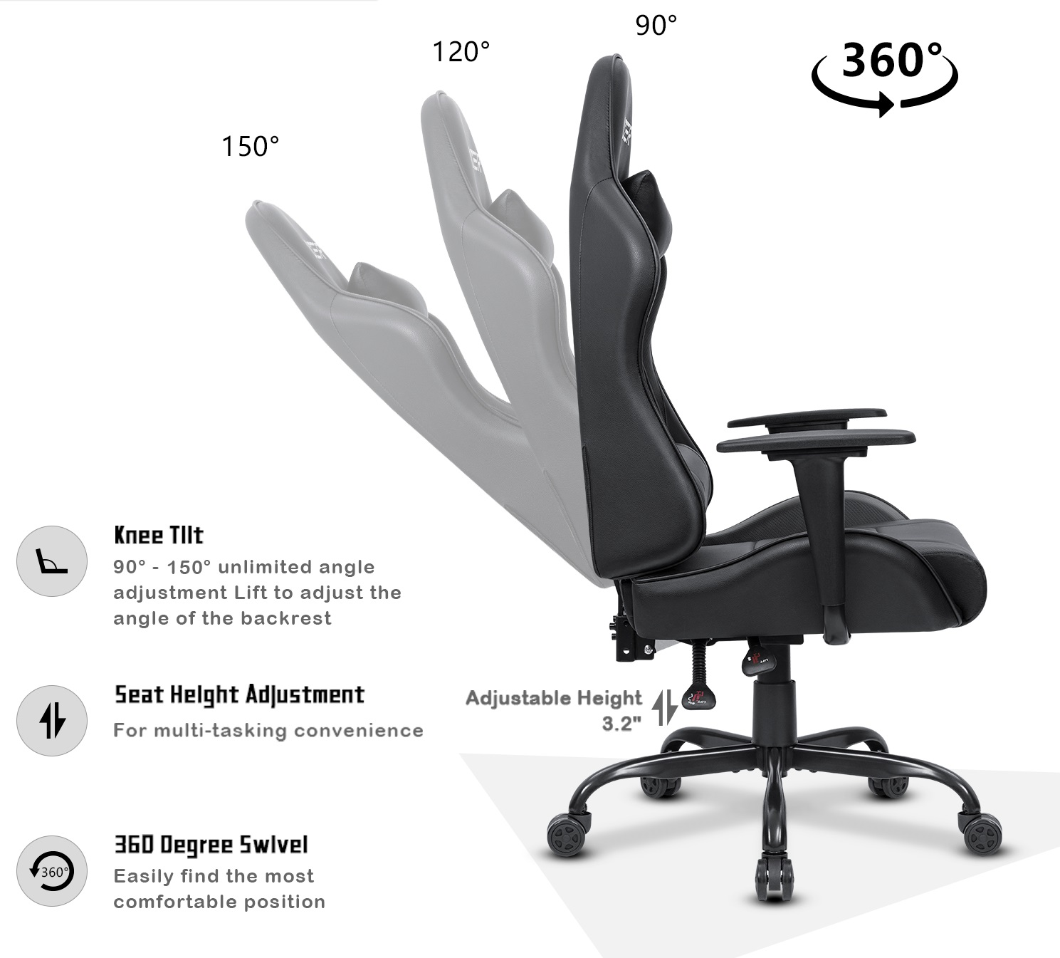 How To Adjust Office Chair Homall Office Gaming Chair Carbon Pu Leather Reclining Black Racing Style Executive Ergonomic Hydraulic Swivel Seat With Headrest And Lumbar Support