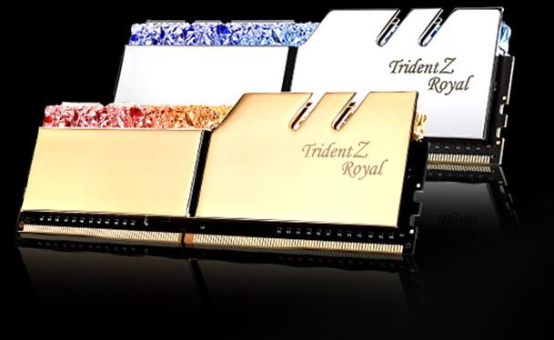 G.SKILL Trident Z Royal Series Crystalline solid CNC-cut aluminum heatspreaders close-up