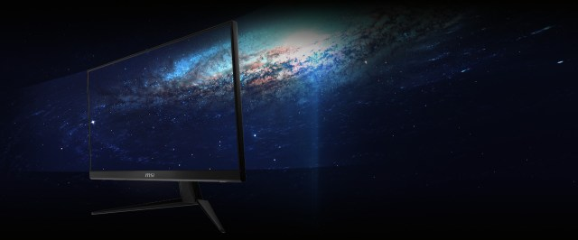 the monitor with a spacing image as screen