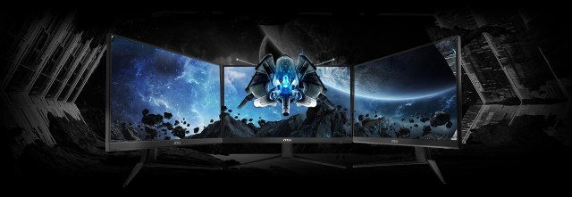 three monitors link together and a spaceship image crossing them