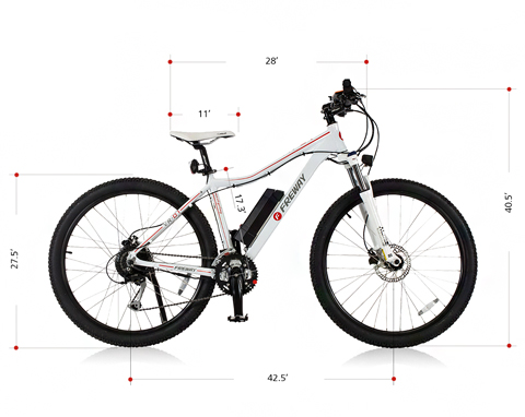 FREWAY Electric Mountain eBike with 27 Speed Pedal-Assist