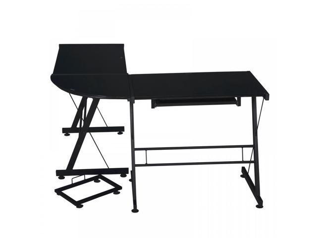 Black 3-piece Corner Desk L-shaped Office Home Computer