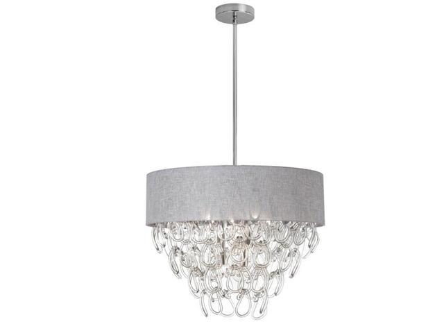 Dainolite Crs 246c Gry 6 Light Glass Loop Chandelier Polished Chrome Linen