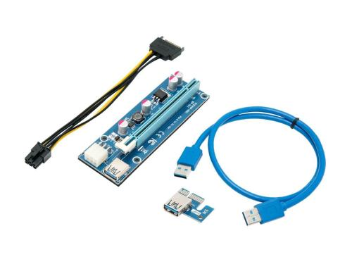 small resolution of mining card riser card pcie pci express 16x to 1x riser adapter usb 3 0 extension cable 60cm 6 pin pci e to sata power cable gpu riser adapter