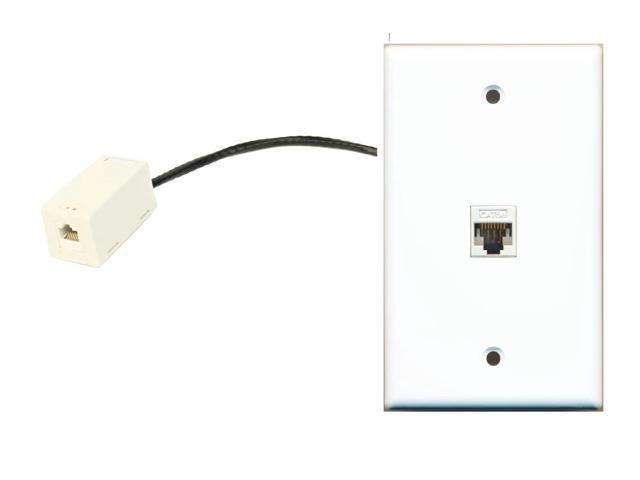 RiteAV Cat5e Rj45 Ethernet Wall Plate Flat White with