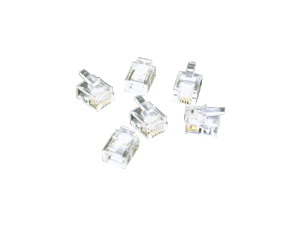 C2G 27557 RJ11 6x4 Modular Plug for Flat Stranded Cable