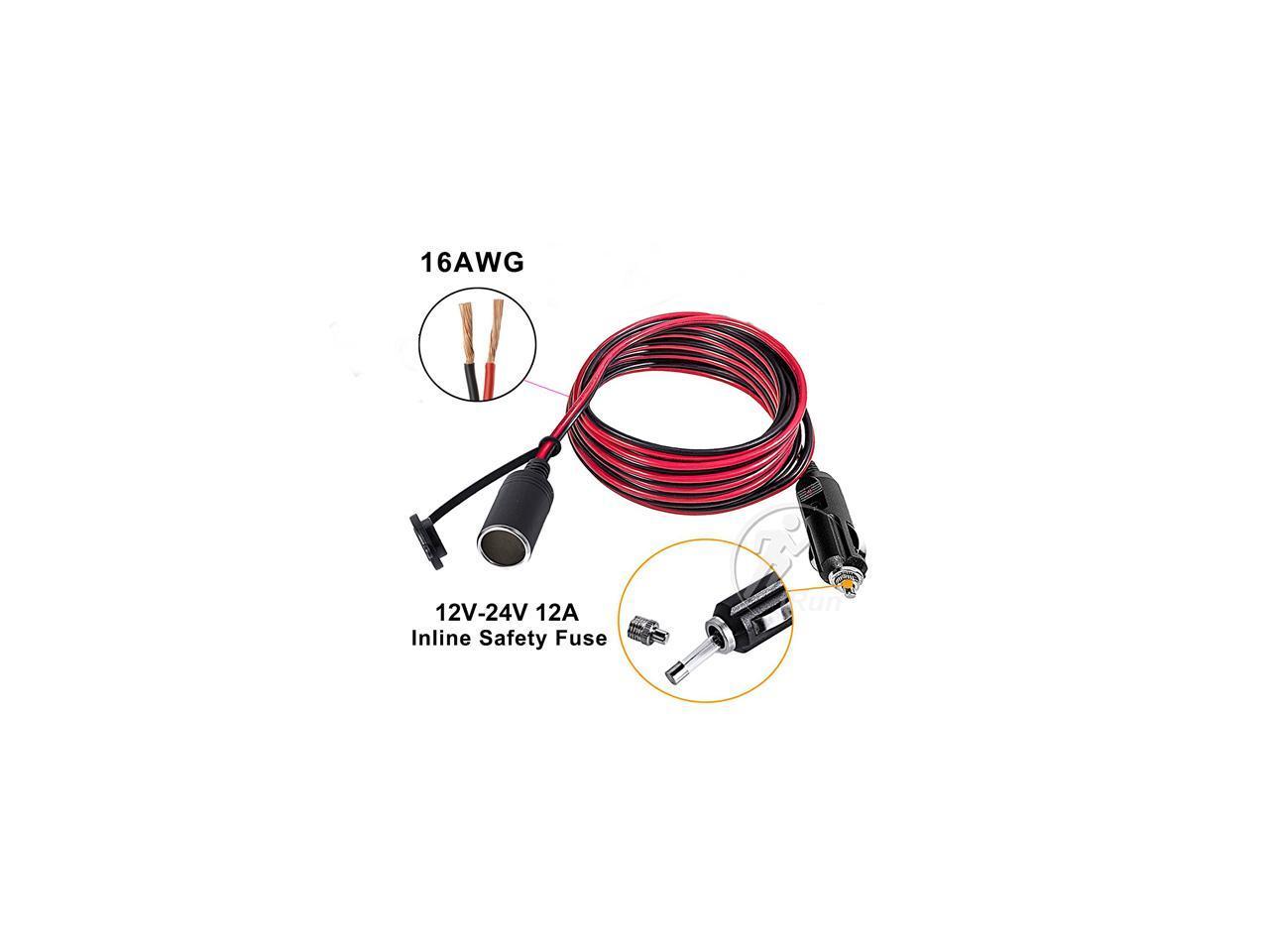 12V 24V 3m Car Cigarette Lighter Power Plug Socket Cord