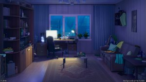 anime computer night living sky interior desktop urban bedroom sofa messy dark chill 1920 cartoon 1080p lofi pc wallhaven parede