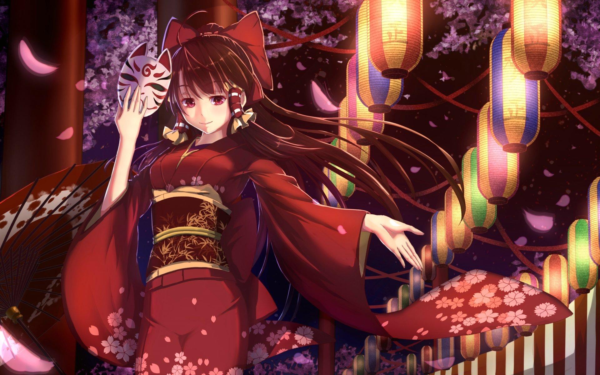 Iphone X Cherry Blossom Wallpaper Reimu Hakurei Hd Wallpaper Background Image 2880x1800