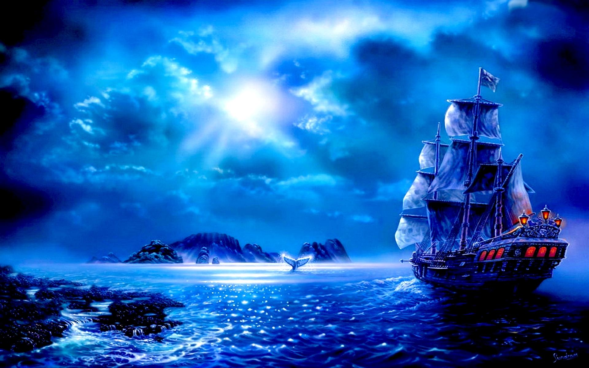 blue fantasy sail full hd wallpaper and background | 1920x1200