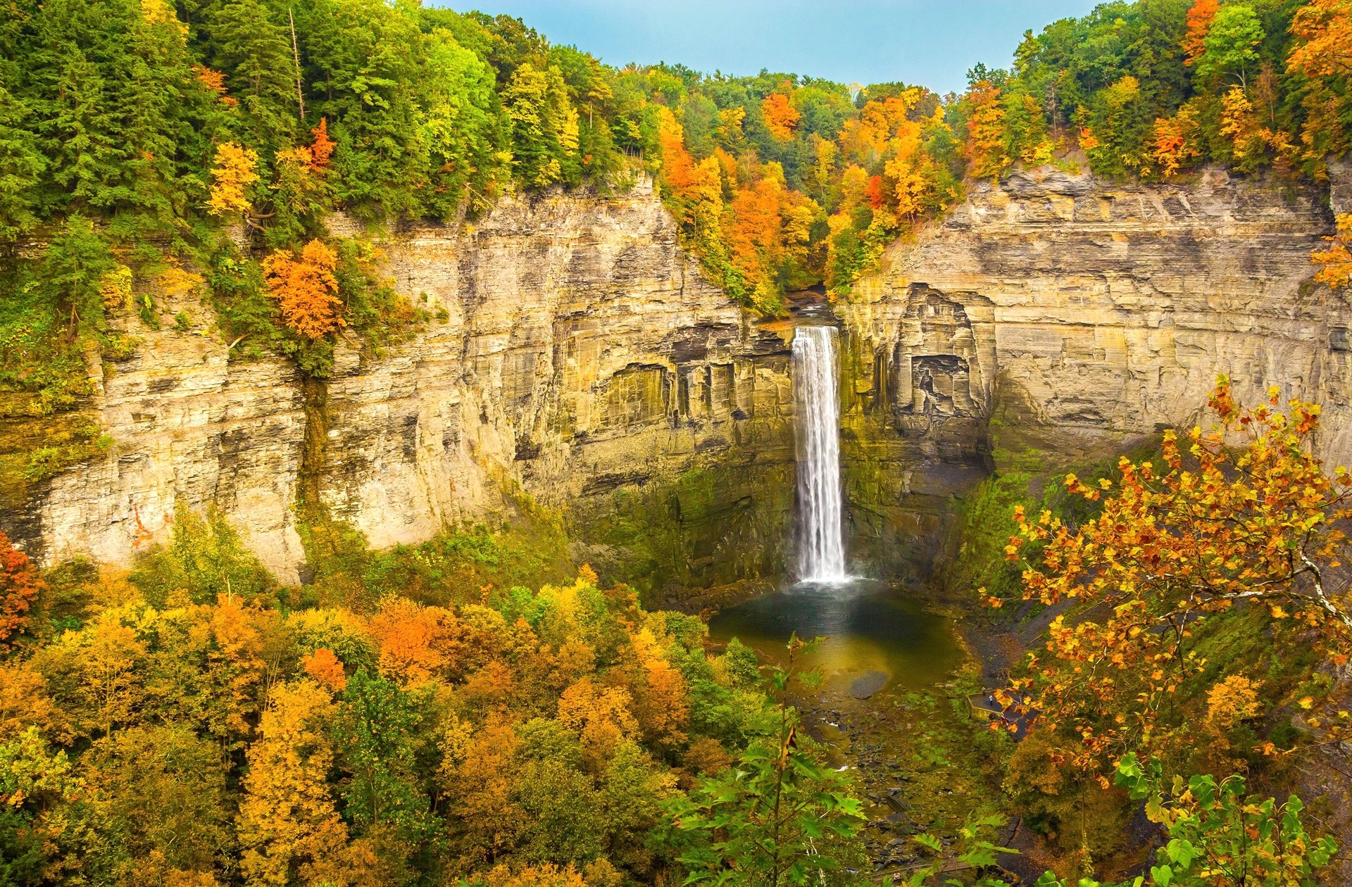 Fall Foliage Wallpaper 1920x1080 Autumn Waterfall Hd Wallpaper Background Image