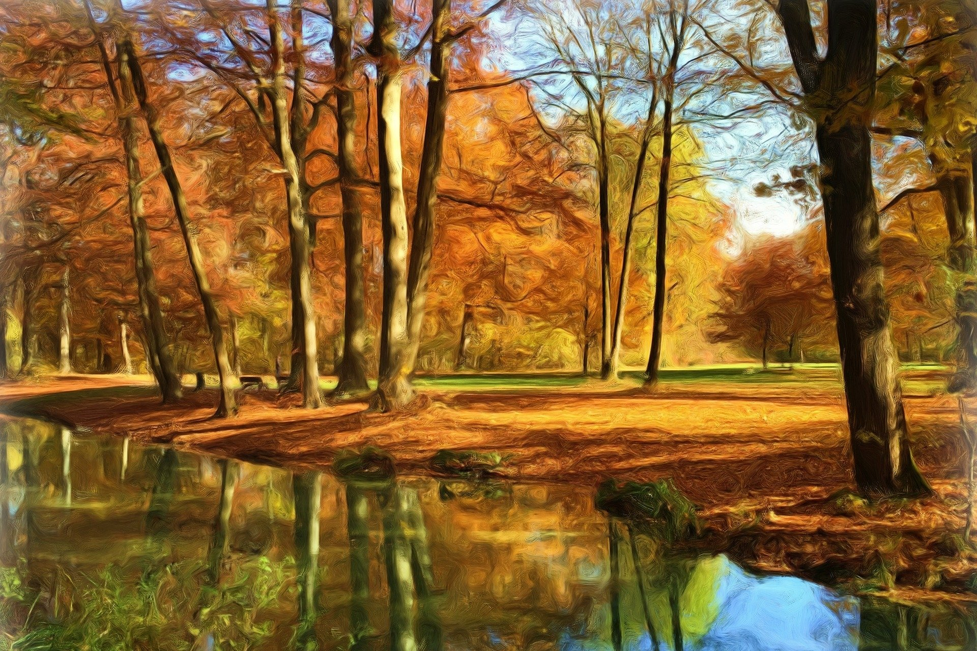 Nature Wallpaper Autumn Fall 1600x1200 Park Done With An Oil Paint Filter Hd Wallpaper