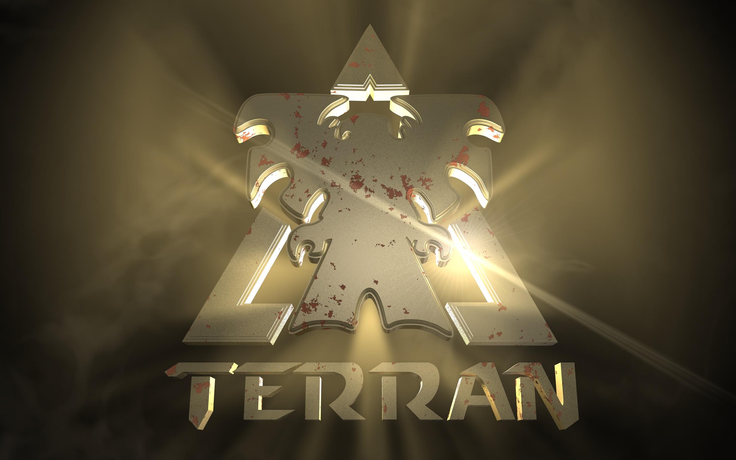Starcraft Wallpaper Hd Terran S Logo Hd Wallpaper Background Image 2560x1600