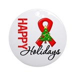 Happy Holidays Red Ribbon Ornament (Round)