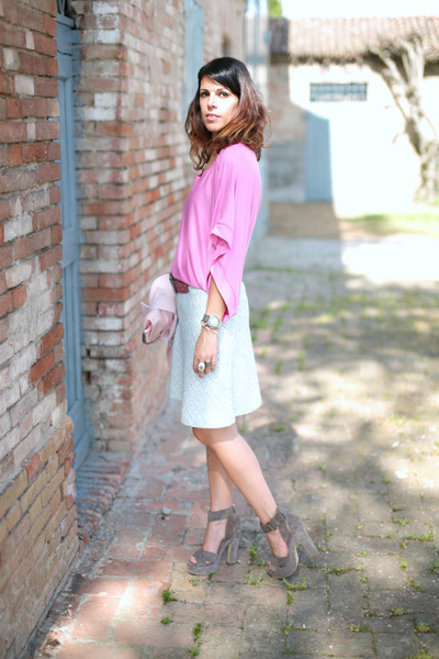 heather gray silk- shoes - light blue vintage skirt - bubble gum ChiccaStyle top